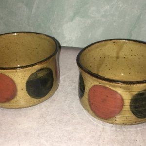 Two Vintage Speckled Stoneware Soup chili mug cup